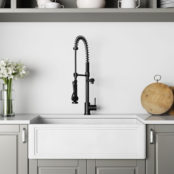VIGO 33-Inch Matte StoneTM Crown Reversible Apron Front Farmhouse Kitchen Sink and Pull-Down Kitchen Faucet in Matte Black