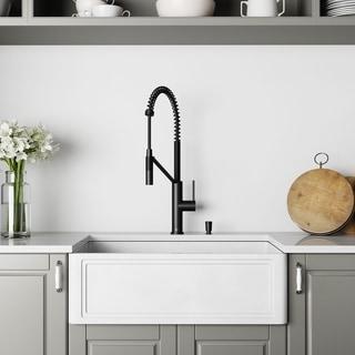 VIGO 30-Inch Matte StoneTM Crown Reversible Apron Front Farmhouse Kitchen Sink and Kitchen Faucet in Matte Black