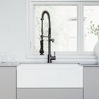 VIGO 30-Inch Matte StoneTM Crown Reversible Apron Front Farmhouse Kitchen Sink and Pull-Down Kitchen Faucet in Matte Black