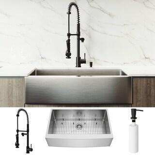 VIGO 36-inch Bedford Farmhouse Apron Front Kitchen Sink and Zurich Pull-Down Faucet in Matte Black