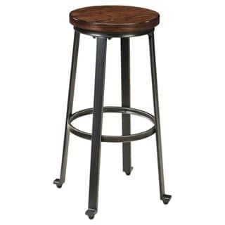 Challiman Rustic Brown Bar Height Bar Stool (Set of 2)