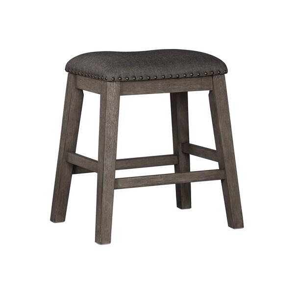 b6fd0edb523 Signature Design by Ashley Caitbrook Dark Grey Upholstered Counter-height  Bar Stool (Set of