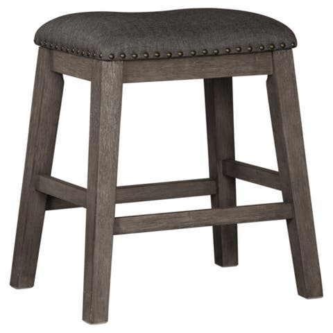 Caitbrook Dark Gray Upholstered Counter Height Barstool (Set of 2)