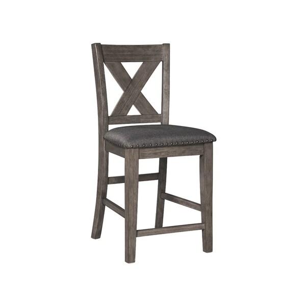 930a14e603d Signature Design by Ashley Caitbrook Dark Grey Wood Upholstered Counter-height  Bar Stool (Set