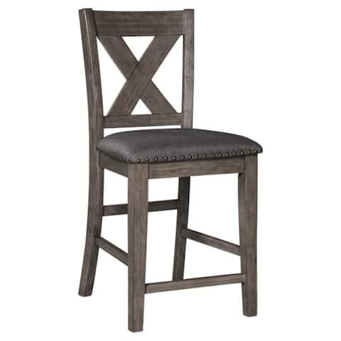 Caitbrook Upholstered Counter Height Bar Stool - Set of 2 -Dark Gray