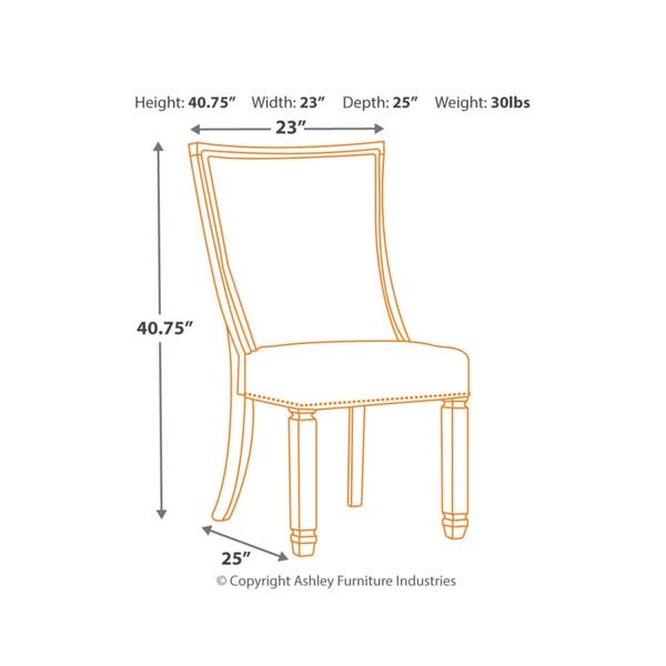 Peachy Shop Bolanburg Antique White Dining Chair With Grey Fabric Pabps2019 Chair Design Images Pabps2019Com