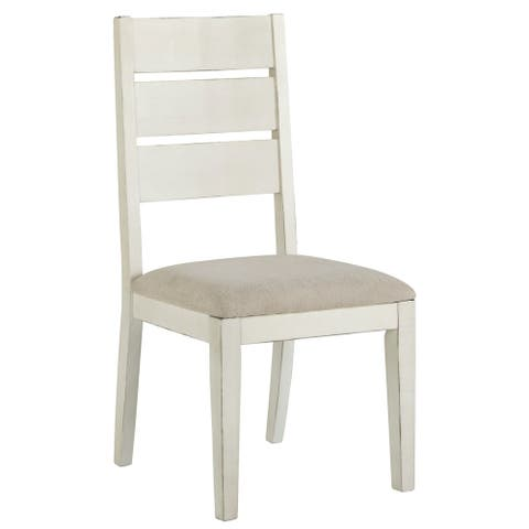 Grindleburg Antique White Dining Chair with Light Grey Fabric Seat (Set of 2) - N/A