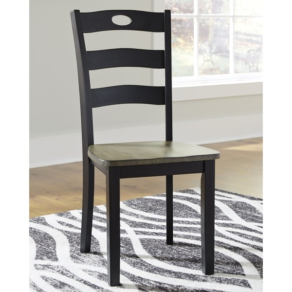 The Gray Barn Earth Dance Black Dining Chair with Grey/Brown Seat (Set of 2)