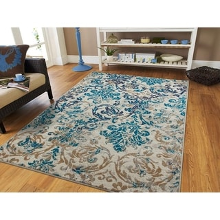 Copper Grove Frejus Modern Teal, Blue, and Grey Area Rug