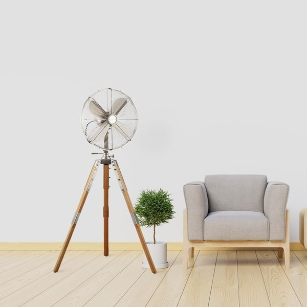 16 Inch Stand Fan With Wooden Legs