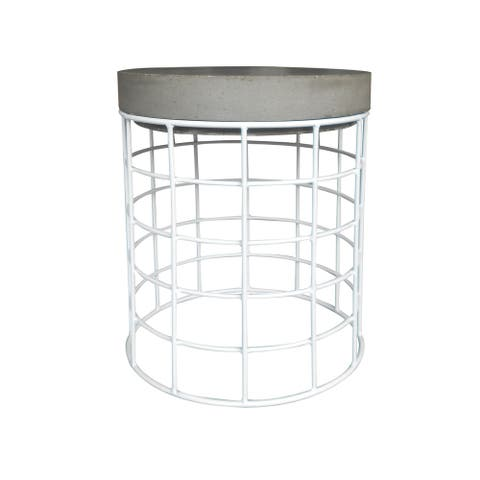 "14"" Outdoor Stool/Side Table, White Wire/Cement Surface"