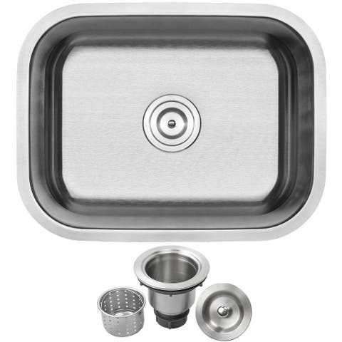 "23"" Ticor L51 Foster Series ADA Compliant 18-Gauge Stainless Steel Undermount Single Basin Kitchen Sink"