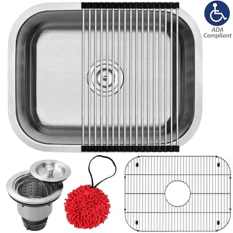 """23"""" Ticor L51 Foster Series ADA Compliant 18-Gauge Stainless Steel Undermount Single Basin Kitchen Sink with Accessories"""
