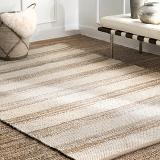 The Curated Nomad Konoval Jute Cotton Flatweave Stripe Area Rug