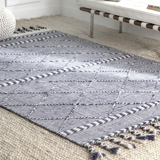 The Curated Nomad Glen Cotton Handmade Casual High Low Trellis Braided Fringe Area Rug