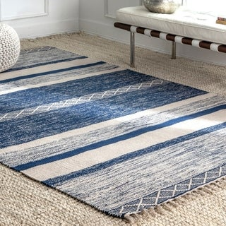 Porch & Den Chee Handmade Wool/ Cotton Casual Geo Striped Fringe Area Rug