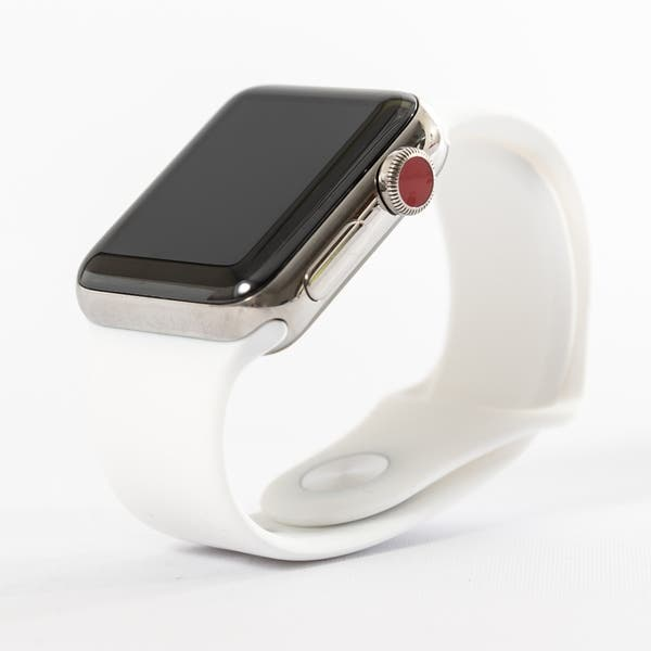 a0414fc39279 Apple Watch MQK82LL/A Series 3 42MM Stainless Steel Case/Soft White Sport  Band - Refurbished by Overstock