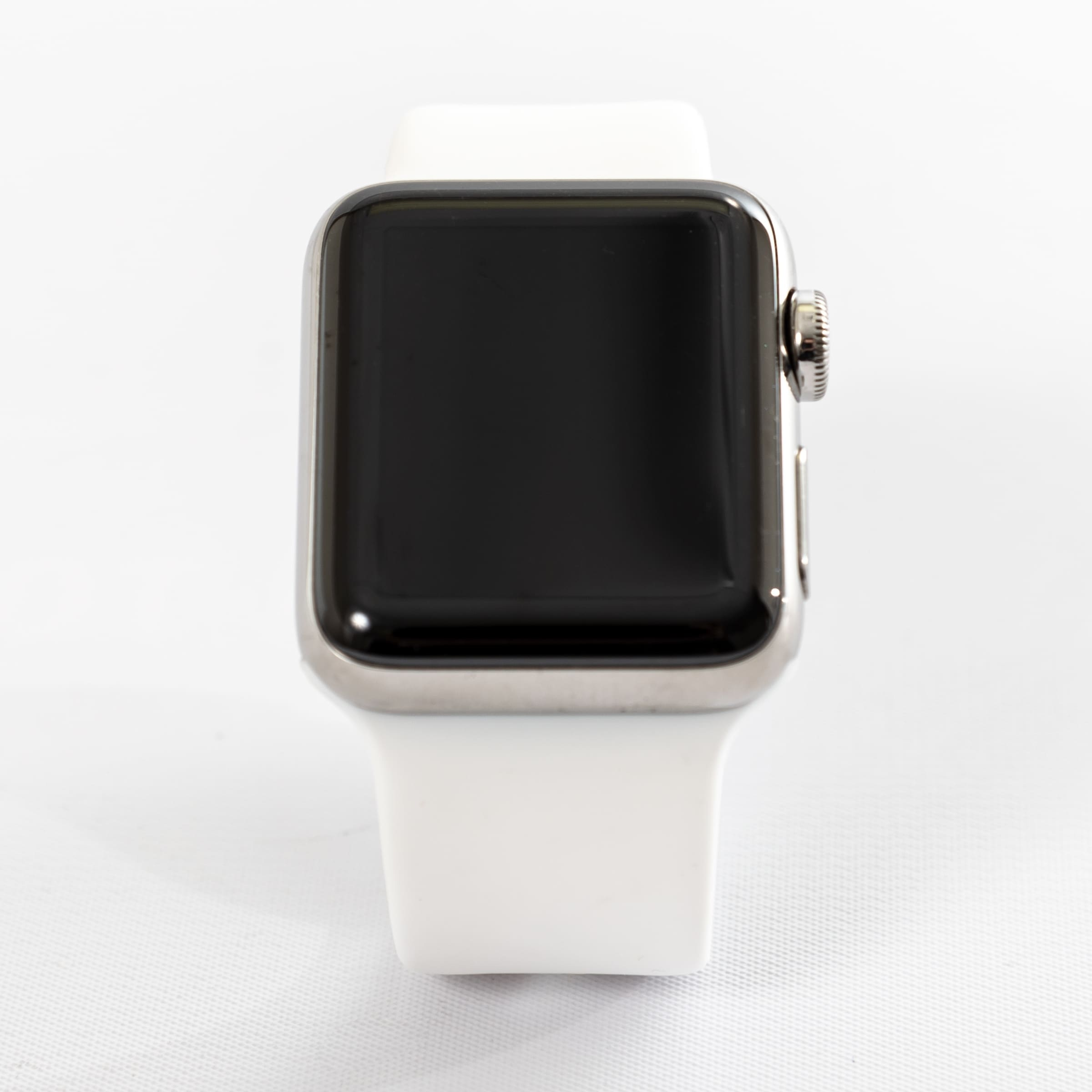 f7beb41d1bda Shop Apple Watch MQK82LL/A Series 3 42MM Stainless Steel Case/Soft White  Sport Band - Refurbished by Overstock - Free Shipping Today - Overstock -  27300120