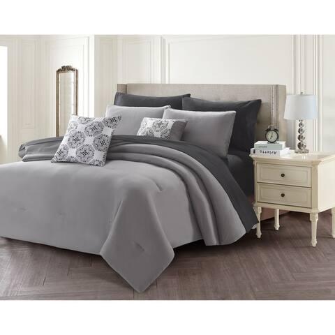 Porch & Den Eddy Solid Color 9-piece Bed in a Bag Set