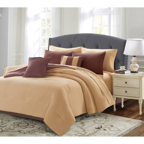 Porch & Den Edward Solid Color 9-piece Bed in a Bag Set