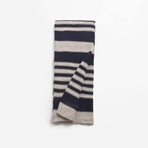 Cottage Home Calab Blue Stripe Cotton Throw Blanket