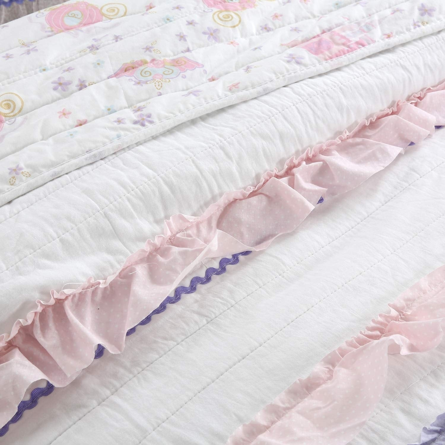 Cozy Line Malia Ruffle Stripe Reversible Cotton Quilt Set Lilac Pink White Lilac Pink White Overstock 27300188