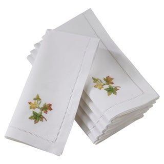 Saro Lifestyle Hemstitch Embroidered Fall Leaf Design Cotton Table Napkins (Set of 6)