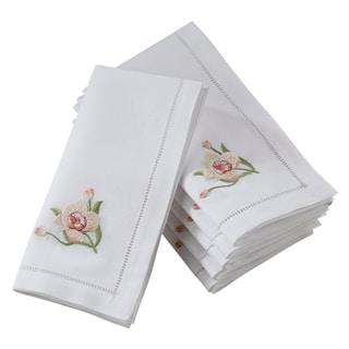 Saro Lifestyle Hemstitch Table Napkins With Pink Orchid Embroidery (Set of 6)