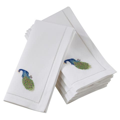 Cotton Hemstitch Border Peacock Embroidery Napkins (Set of 6)