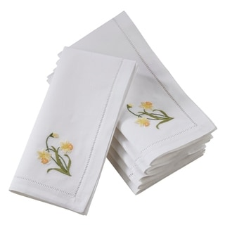 Saro Lifestyle Hemstitch Cotton Napkins with Daffodil Embroidery (Set of 6)