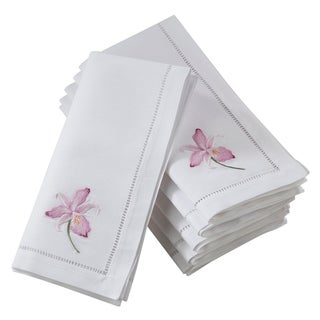 Saro Lifestyle Cotton Hemstitch Border Napkins With Fuchsia Embroidery (Set of 6)