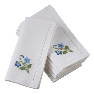 Saro Lifestyle Cotton Hemstitch Embroidered Napkins (Set of 6)