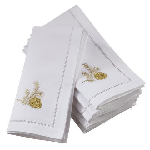 Embroidered Pine Cone Design Hemstitch Table Napkins (Set of 6)
