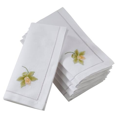 Saro Lifestyle Hemstitch Table Napkins with Green Orchid Embroidery (Set of 6)