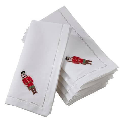 Saro Lifestyle Table Napkins with Embroidered Soldier and Hemstitch Design (Set of 6)