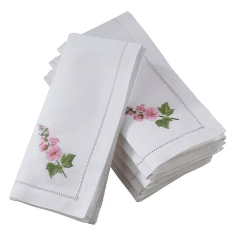 Saro Lifestyle Hemstitch Cotton Napkins with Hollyhock Embroidery (Set of 6)