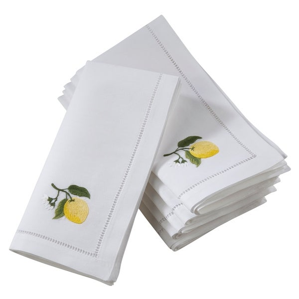 Saro Lifestyle Cotton Table Napkins with Embroidered Lemon Design (Set of 6)