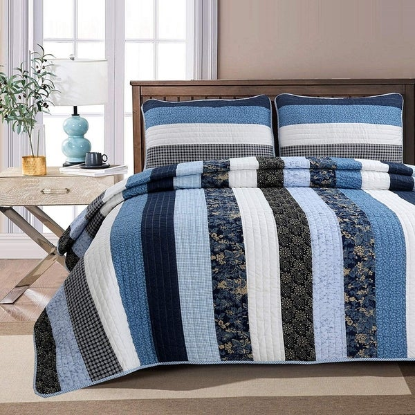 Cozy Line Carlos Stripe Reversible Cotton Quilt Set - Blue/Navy/White - Blue/Navy/White. Opens flyout.