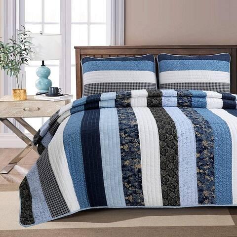 Cozy Line Carlos Stripe Reversible Cotton Quilt Set - Blue/Navy/White - Blue/Navy/White