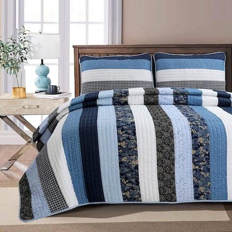 Cozy Line Carlos Stripe Reversible Cotton Quilt Set - Blue/Navy/White