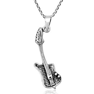 Handmade Power Of Music Sterling Silver Guitar Pendant Necklace Thailand