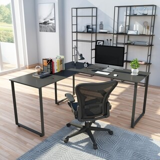 Porch & Den Jean L-Shaped Workstation Laptop Table Corner Desk