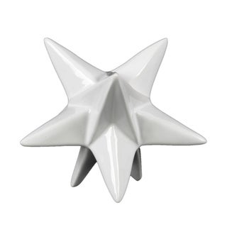 Urban Trends Ceramic Stellated Dodecahedron Sculpture in Gloss Finish, Small - White