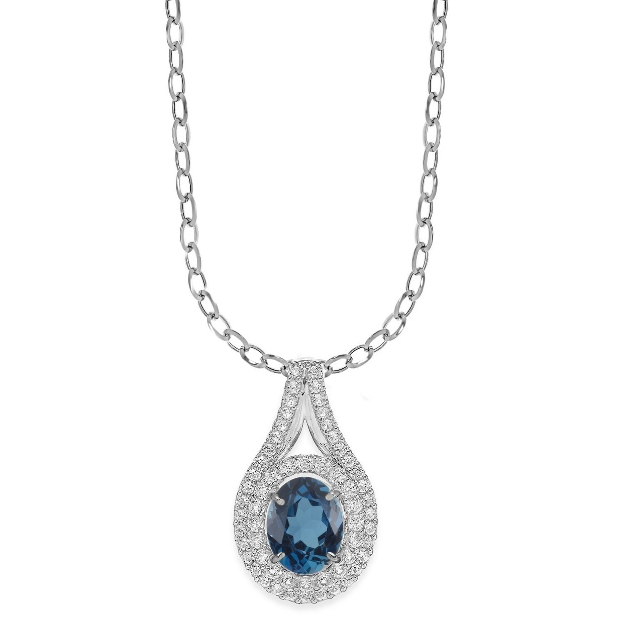 Natural Blue Sapphire /& White sapphire halo  Pendant Necklace  Sterling Silver