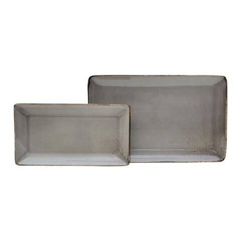 222 Fifth Reactive Glaze Grey Set of 2 Rectangular Trays