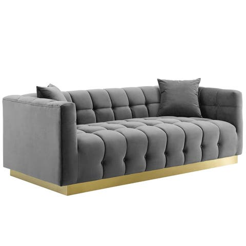 Vivacious Biscuit Tufted Performance Velvet Sofa