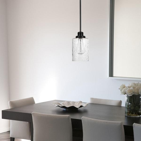 Porch & Den Arranmore Seeded Glass Shade Bronze 1-light Pendant. Opens flyout.