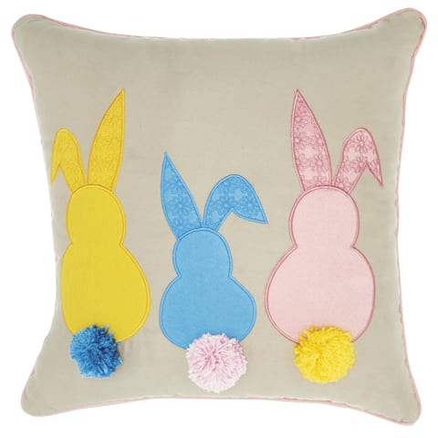 Mina Victory Multicolor Bunny Tails Throw Pillow