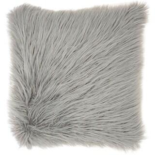 Nourison Mina Victory Light Grey Faux Tibetan Lamb Fur 17-inch x 17-inch Decorative Throw Pillow
