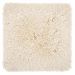 Mina Victory Yarn Shimmer Cream Shag 14 x 14 Decorative Throw Pillow